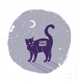 cat silhouette night vector image vector image