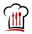 chef hat and cutlery vector image vector image
