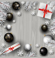 christmas decorations on a wood background vector image vector image