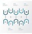 combat outline icons set collection of weapon vector image vector image