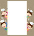 cute family happy cooking with space frame vector image vector image