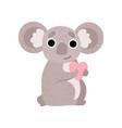 cute koala bear holding pink heart funny grey vector image vector image
