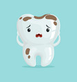 cute sad cartoon tooth character with coffee vector image