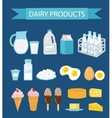 Dairy products icon set flat style Milk and vector image