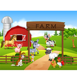 Farm background with animals vector image vector image