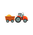 farm tractor loaded with wheat stage of bread vector image