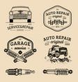 garage logos set car repair emblems collection vector image vector image