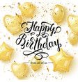 happy birthday background with golden balloons and vector image vector image