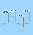 mustaches set with sticks vector image