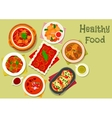 Nourishing meat dinner dishes icon design vector image vector image