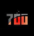 orange grey on black background number 700 for vector image vector image