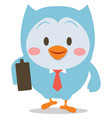 owl with bag character vector image vector image