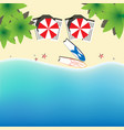 paradise beach for couple top view square vector image vector image