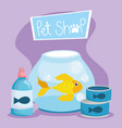 pet shop fish in bowl medicine bottle and food vector image vector image