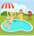 picnic near swimming pool vector image