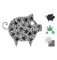 piggy mosaic of weed leaves vector image