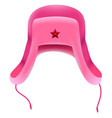 pink russian winter hat with earflap with red star vector image vector image