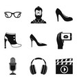 podium icons set simple style vector image vector image