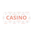set gambling and casino thin line banner vector image