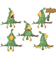 Set of cute green parrots for you design vector image vector image