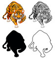 set tiger character vector image vector image