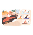 smiling woman practicing online yoga classes at vector image