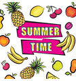 summer time card background tropical fruit set vector image