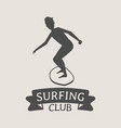 surfing club logo icon or symbol man surfer vector image vector image
