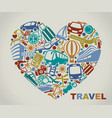 symbols of tourism and travel in the form of heart vector image vector image