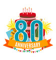 template 80 years anniversary congratulations vector image vector image