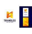 triangles logo and business card template vector image vector image
