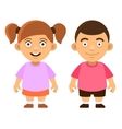 Two Carroon Style Cute Kids Boy and Girl on White vector image