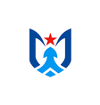 unusual abstract shield star blue logo vector image