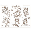 valentine day cupids and angels with wings vector image