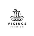 viking ship monoline line logo icon vector image