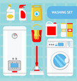 washing set concept flat vector image