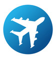 white plane on blue background vector image vector image