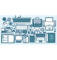 office supplies gadgets stationery on desktop in vector image