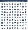 100 banking icons vector image vector image