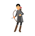 archer in medieval outfit colorful character vector image