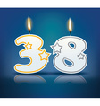 Birthday candle number 38 vector image vector image
