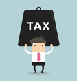 Businessman carrying heavy tax vector image