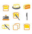 butter or margarine spread on bread icons s vector image vector image