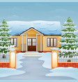cartoon of winter day landscape with house and sno vector image