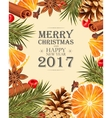 Christmas card with mulled wine ingredients vector image vector image