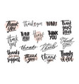 collection creative thank you lettering vector image