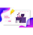 company worker sitting at desk work on pc website vector image vector image