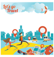 Couple run to City Travel vector image vector image