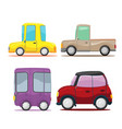 cute cars cartoon collection set vector image vector image