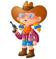 Cute girl dressed in a cowboy suit vector image